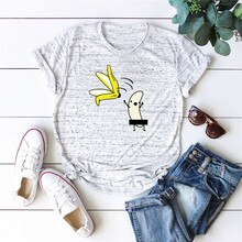 Grande Taille S-5XL NOUVELLE Banane Impression T-Shirt Femmes 100% coton O COU À Manches Courtes Dété T-Shirts Hauts T-shirts T-shirts DRÔLES