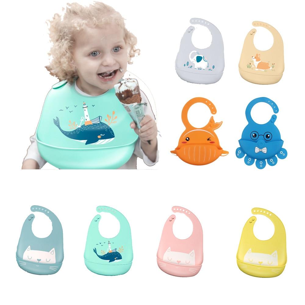 Силиконовый нагрудник для кормления новорожденных, водонепроницаемый регулируемый слюнявчик для фартуки с рисунком, бандана