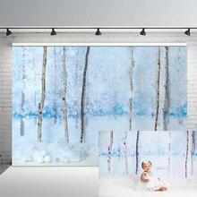 Photo Studio Background Winter Wonderland White Snow Trees Frozen Outdoor Photography Backdrops Christmas Photocall Backdrop
