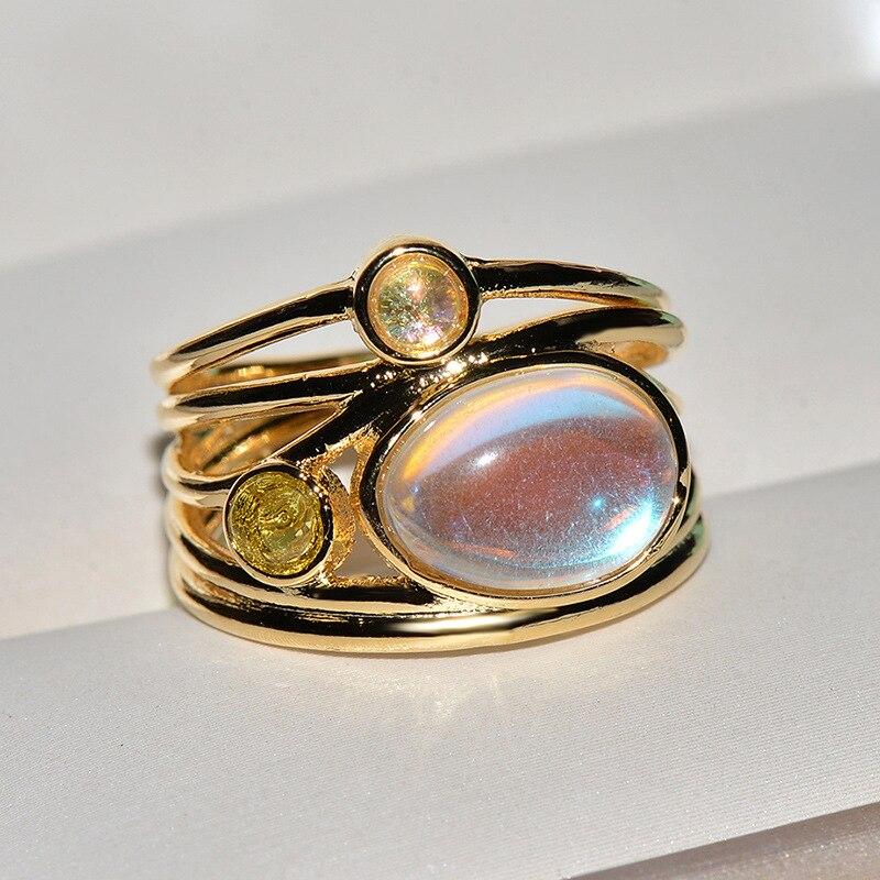 Elegante 24 k ouro colorido moonstone anel para mulher vintage multicamadas noivado jóias feminino anel de banda larga