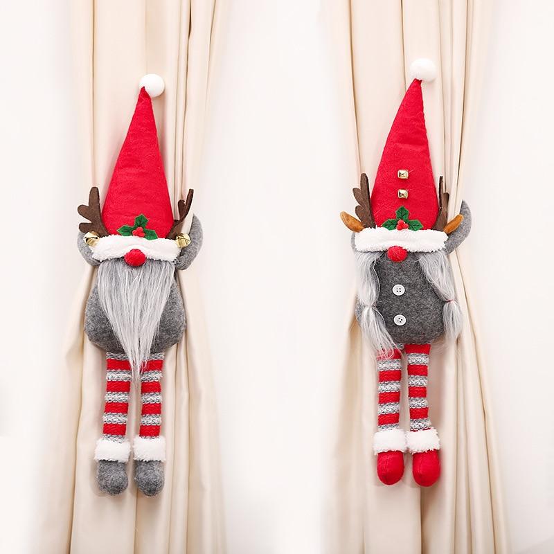 Christmas Curtain Buckle Faceless Gnome Decoracion Ornaments Navidad Decoration for Home New Year 2022 Noel