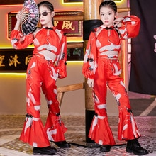2020 Chinese Style Red Outfits Ballroom Hip Hop Dancing Clothes For Girls Street Dance Stage Costume