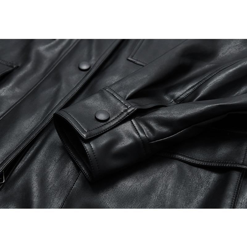2021 Spring Autumn New Leather Loose Coat Women's Locomotive Wear Vintage Mid Long Retro Loose Black PU Leather Jacket with Belt enlarge