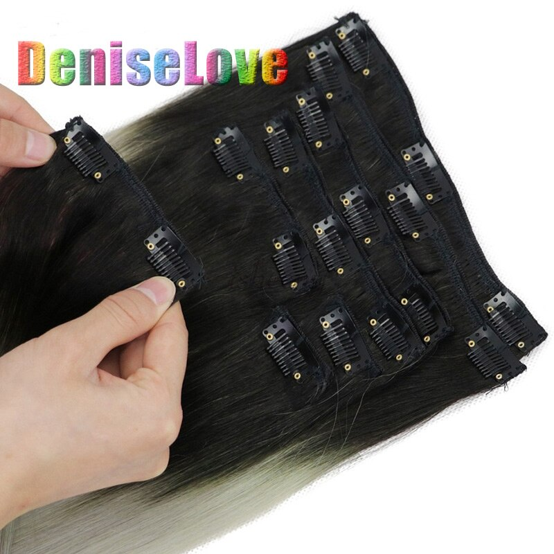 Clip en clips de extensiones de cabello humano 2,8/3,2/3,8 cm negro/Rubio Clips de acero inoxidable clips de extensión de cabello humano negro