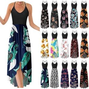 Dresses For Women 2021 Sundresses Women Fashion V-neck Sleeveless Strap Open Back Sexy Print Maxi Dress Summer Dress Robe Femme