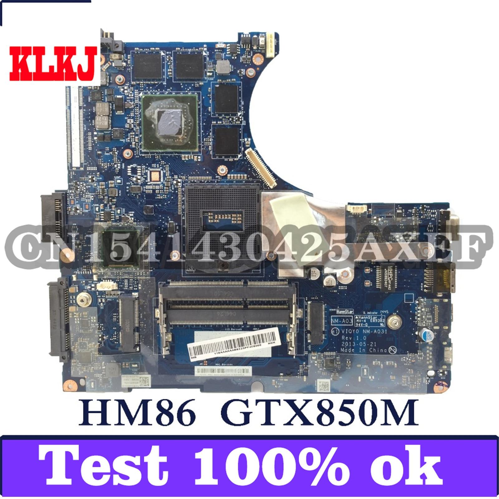 KLKJ VIQY0 NM-A031 اللوحة الأم للكمبيوتر المحمول لينوفو Y430P اختبار اللوحة الرئيسية الأصلية HM86 GTX850M