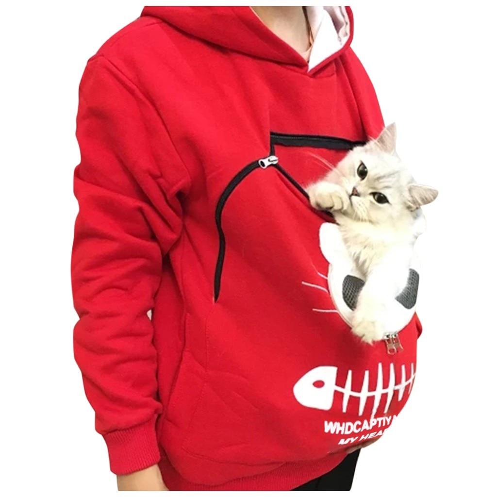 Sudadera para parejas gato portador perro Pet jerséis con triangulación de envío blusa cremallera bolsa sudadera bolsillo Animal oído chaquetas con capucha sudor