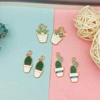 10pcs potted cactus enamel charms drop oil plant flower gold color alloy pendants diy earrings bracelet jewelry accessory fx240