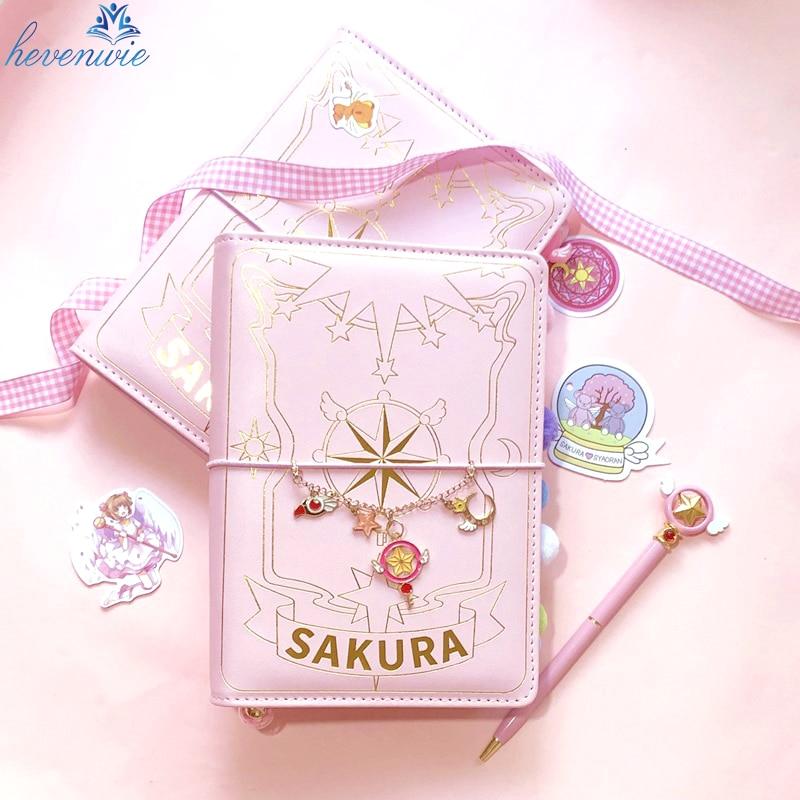 Juego de 3 estilos de cartas Captor Sakura, Figura impresa de acción de Anime, manual de papel, libreta mágica, Luna encantadora, estrella, diario, libros de papelería