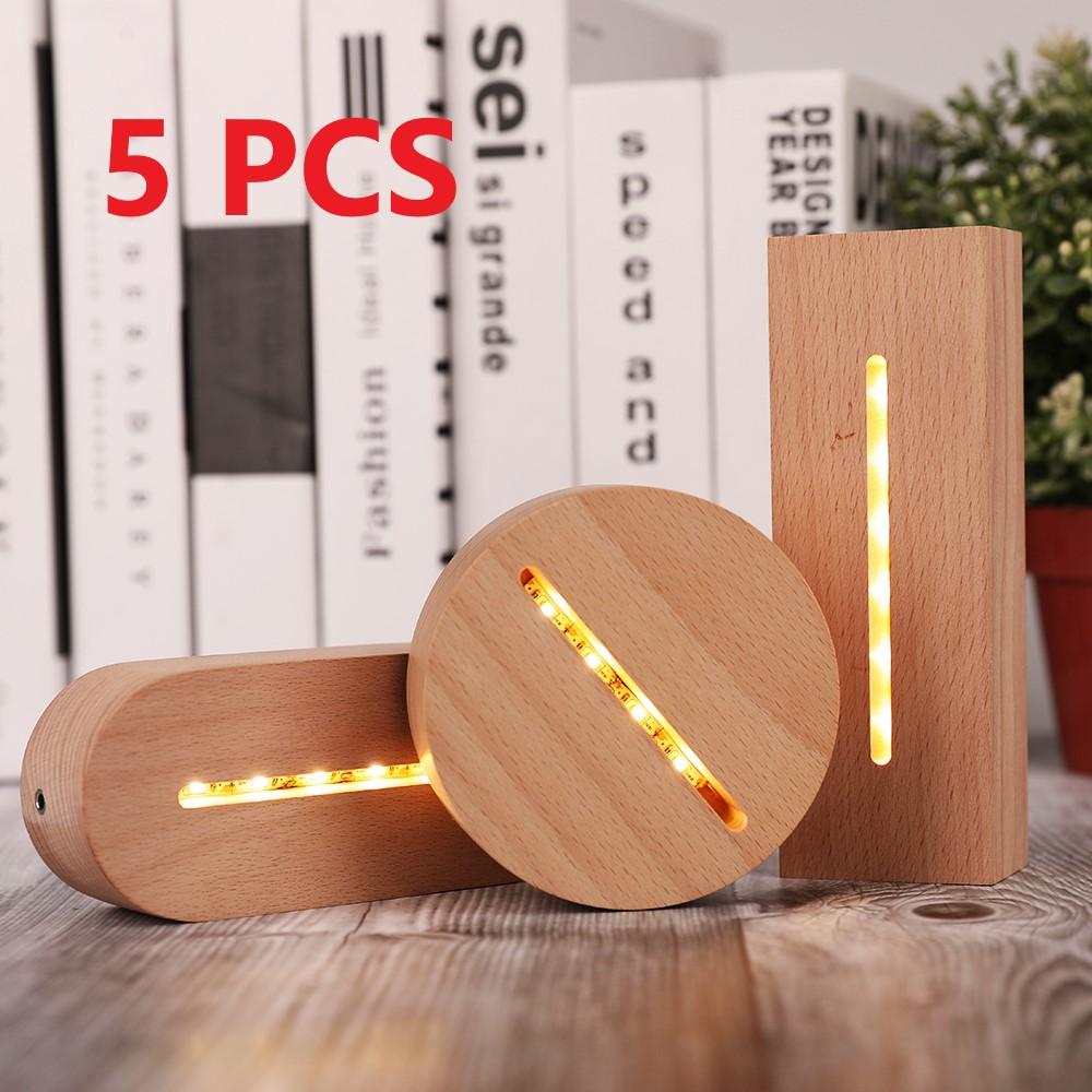 5 قطعة/المجموعة 3D خشبية قاعدة مصابيح LED الجدول ليلة مزهرية مضيئة مزودة بقاعدة ل الاكريليك الدافئة مصباح حامل الإضاءة اكسسوارات تجميعها قاعدة ...