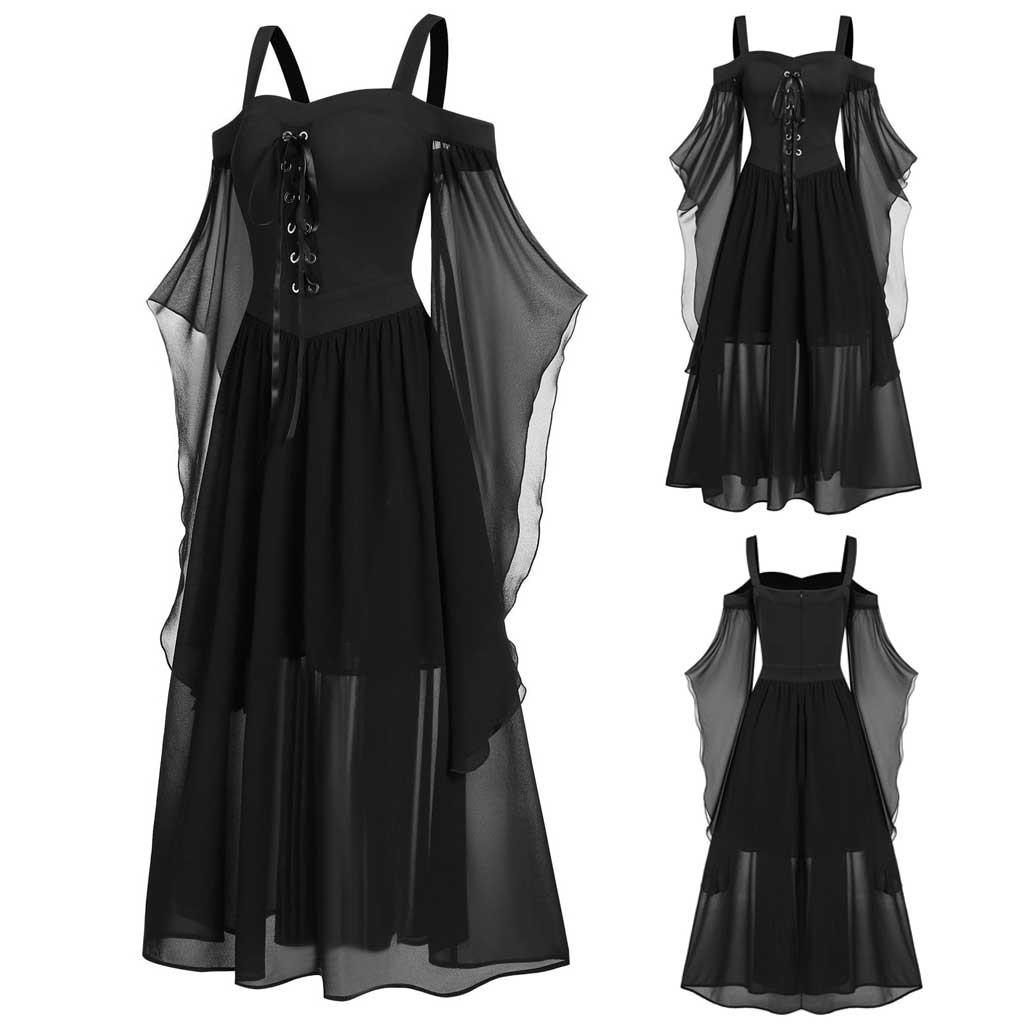 Womne vestido vintage plus size ombro frio manga borboleta rendas até vestidos góticos vestido de halloween vestidos 2021