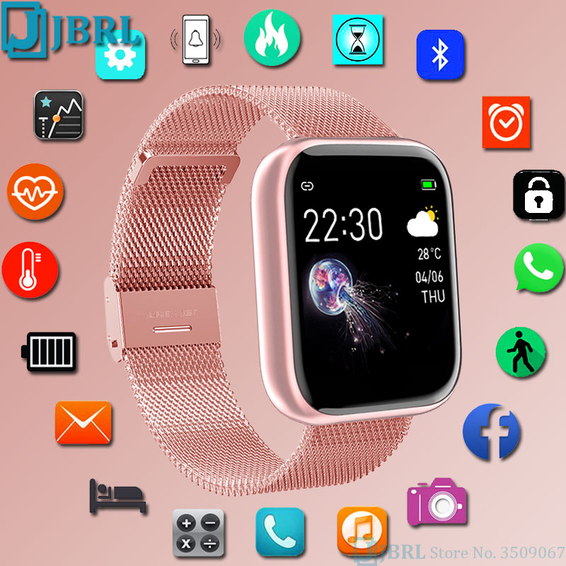 Fashion Stainless Steel Smart Watch Women Men Electronics Sport Wrist Watch For Android IOS Square S