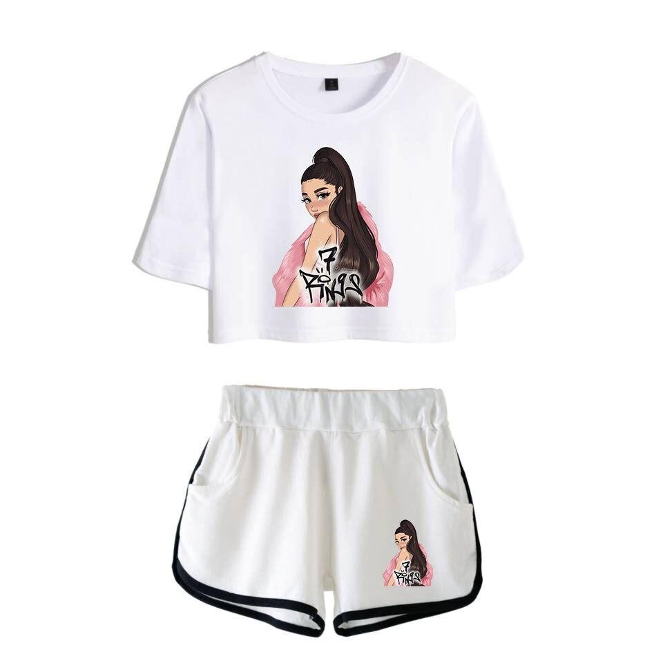 Lana Grande Modis caliente Sexy conjuntos de dos piezas suave camiseta y pantalones cortos elásticos Kpop Harajuku cómodas camisetas de estilo Sexy