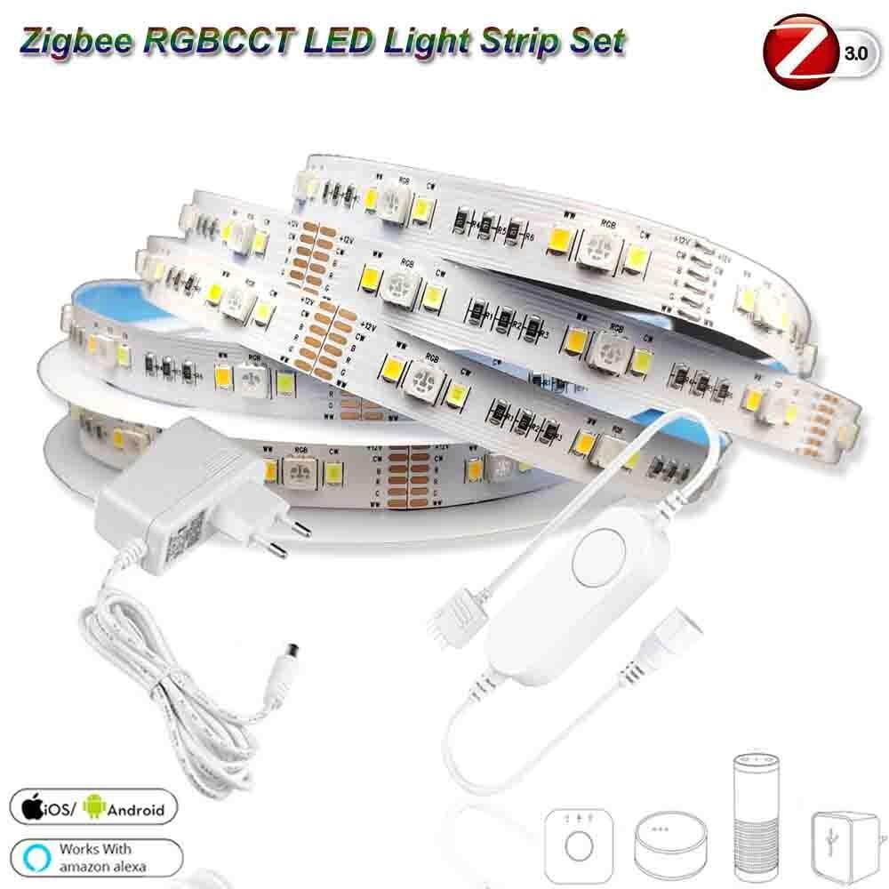 5 متر DC12V 5050 RGB + CCT 90 المصابيح/متر LED قطاع ضوء زيجبي RGBCW تحكم صغير مجموعة الطاقة ل smartship زيجبي 3.0 H * u * E Echo Plus