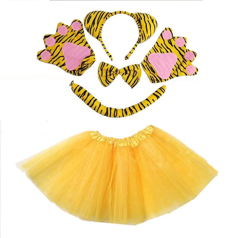Kids Girl Women Animal Tiger Girl Cosplay Headband Tutu Skirt Tie Tail Paw Gloves Set  Party Props Costume Christmas Halloween