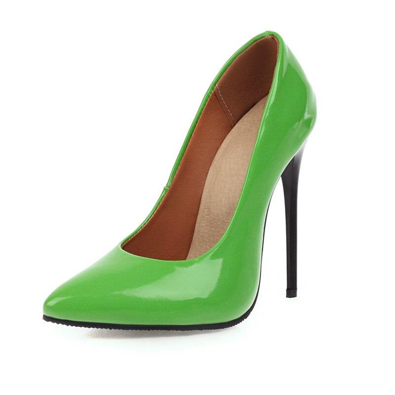 Femmes Sexy fête escarpins à talons hauts princesse talons aiguilles chaussures en cuir verni Nigh Club Zapatos brillant Orange vert grande taille 48 47 8