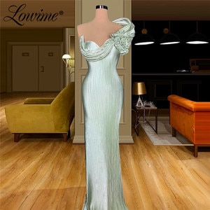 Mint Green Mermaid Evening Dress Party Gowns 2020 Cheap Celebrity Dresses Robes De Soiree Dubai Muslim Formal Dresses Prom Dress