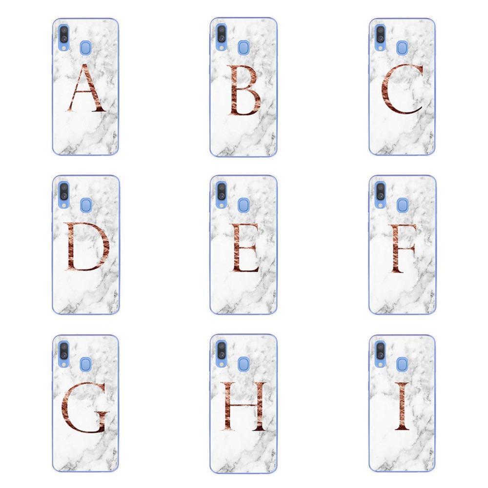 Letra monograma A B C D mármol blanco suave TPU teléfono caso para Samsung Galaxy A10 A20 A30 A40 A50 A70 M10 M20 M30 M40 2019 cubierta