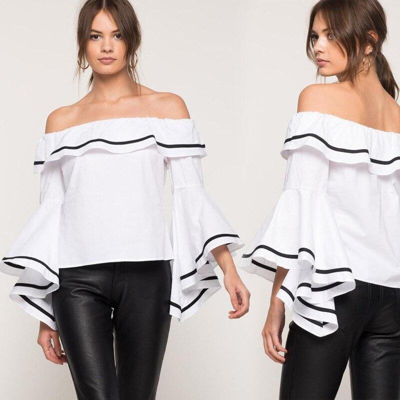 Женская однотонная блузка с вырезом лодочкой, белая универсальная открытыми плечами и длинными рукавами-бабочками, весна-осень