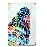 the leaning tower of pisa metal tin sign wall decor tin sign home decor metal poster