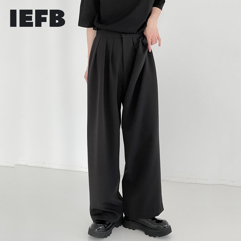 IEFB العمودي السراويل الرجال الربيع و الصيف رقيقة بنطال ذو قصة أرجل واسعة الكورية نمط سراويل تقليدية فضفاضة و وسيم الطابق السراويل 9Y8107