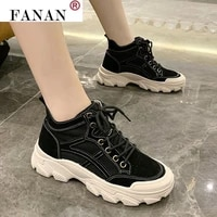 women shoes thick bottom heighten sneakers womens fashion black outdoor lace up casual sports shoesvulcanized flat ankle boots