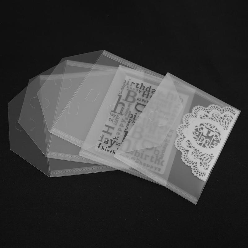 10 pçs/set Transparente Bolsa de Arquivo PP Caso Coletar Selos DIY Scrapbooking Stencil Corte Morre Morre Modelo de Saco De Armazenamento Saco Titular