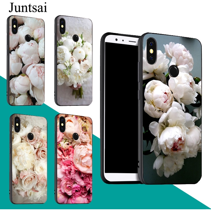 Peonía ramo blanco flor caso para Xiaomi Redmi Nota 9 7 8 Pro K30 9 S 8T 7A 8A Mi 9T A3 9 SE 10 Lite Max3 Mix3
