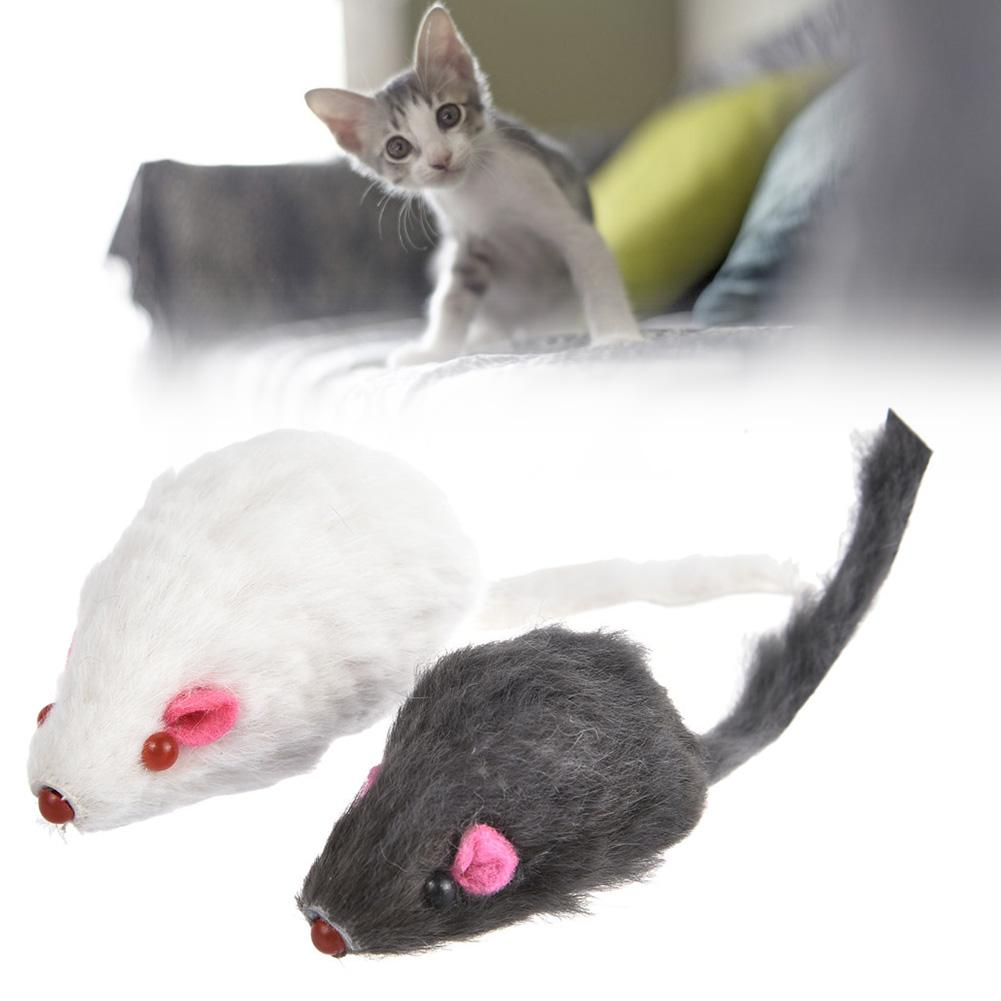 12PCS Mouse Real Fur Mixed Loaded Toys For Pet Cat Kitty With Sound Simulation Fluff Mouse Toys For