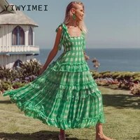 summer plaid sundress vonda women bohemian printed dress casual sleeveless party vestido femme robe long baggy dresses green