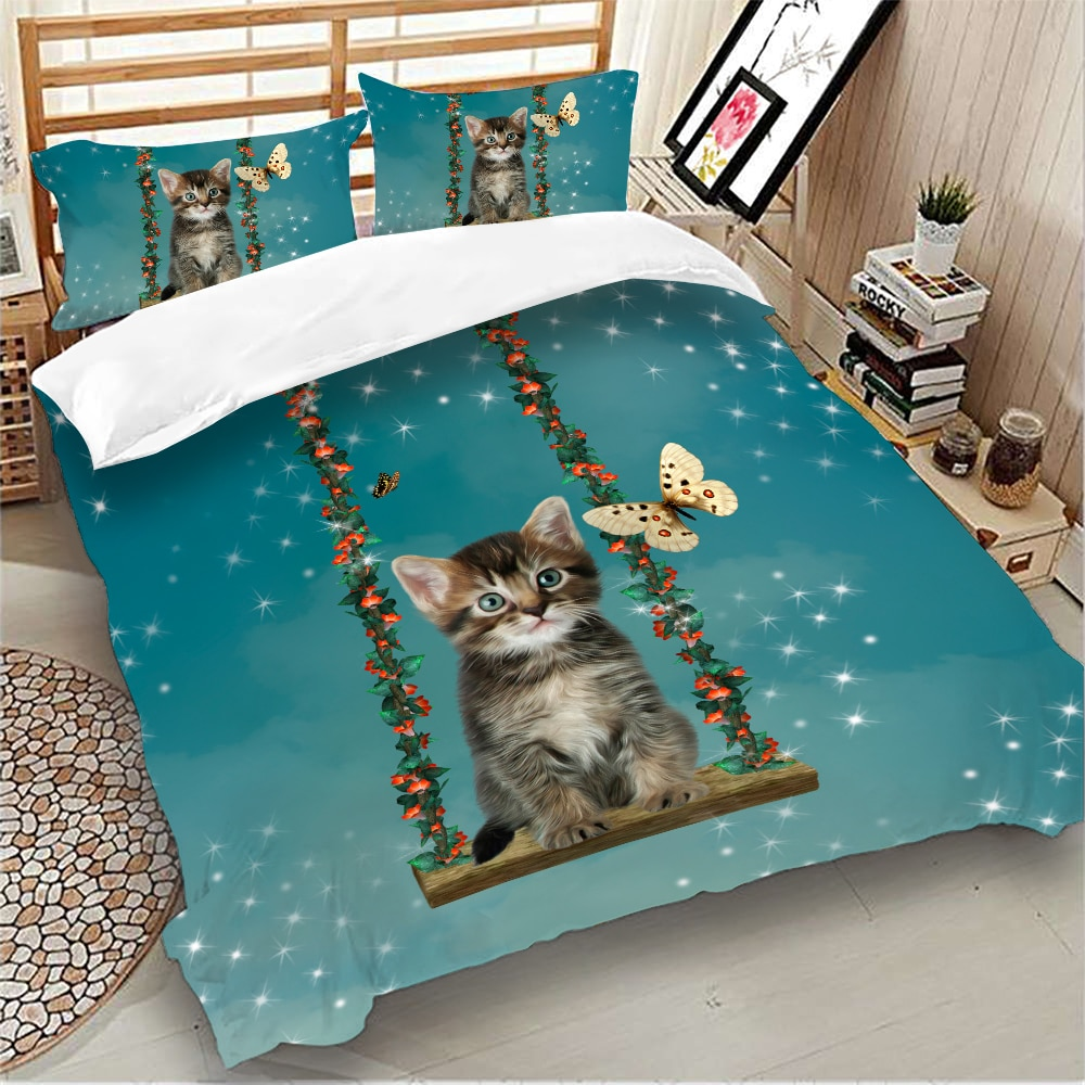 Cute Cat Swing Bedding Set 3D Animal Flower Duvet Cover with Pillowcases Twin Queen King Size Green Color Quilt Cover 3pcs