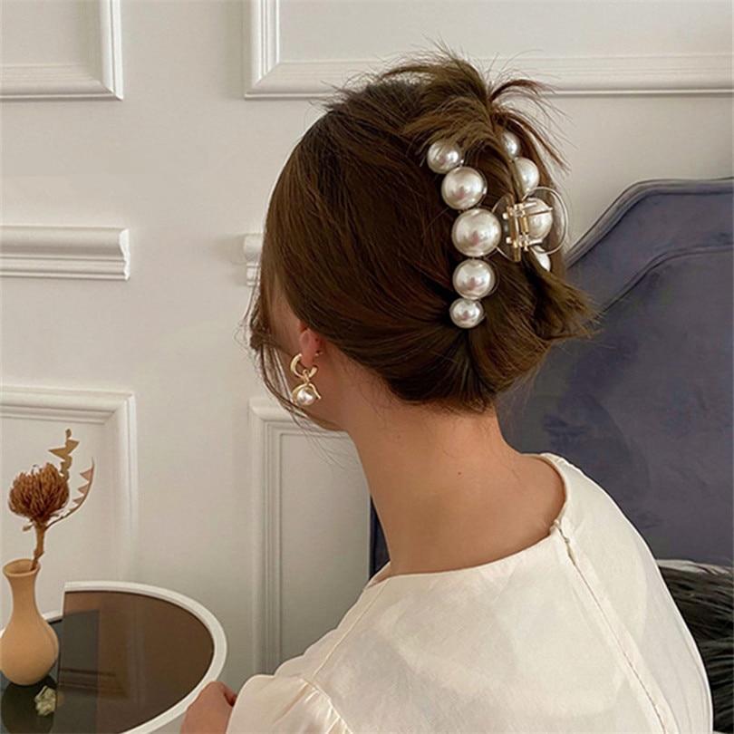 Cleme acrilice pentru gheare de păr de dimensiuni mari, cu perle - Accesorii pentru haine - Fotografie 6