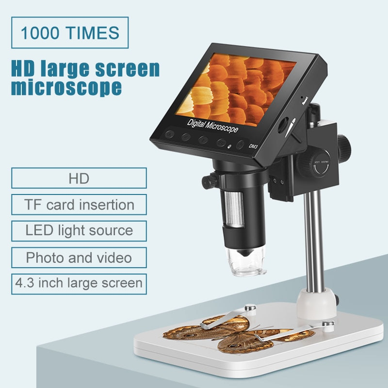 4.3'' 1000X HD Monitor Digital Microscope Electronic Adjustable With 8 LED Light self-changed light source Video photo Magnifier