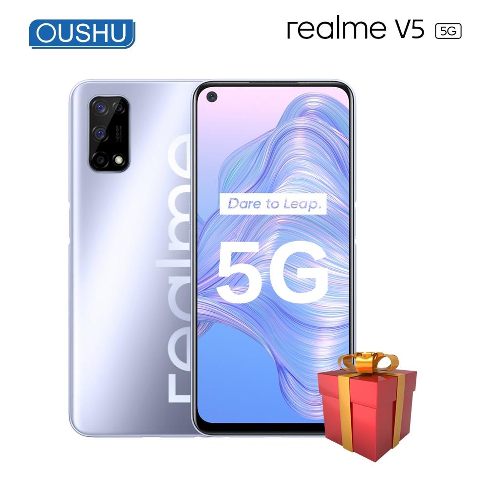 Перейти на Алиэкспресс и купить Оригинальный 5G смартфон realme v5 MediaTek 720 5000mAh 30W быстрая зарядка 8G 128G 6,5 ''90Hz экран частота обновления 48MP Quad сотовый телефон