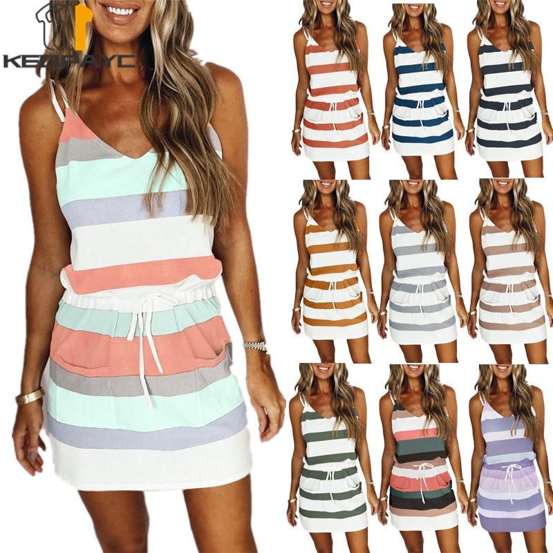 scoop neck sleeveless striped loose fitting dress for women Summer Dress 2021 Women Fashion Striped Print Sleeveless V-neck Loose Camisole Dress Ladies Casual Drawstring Dresses Vestidos