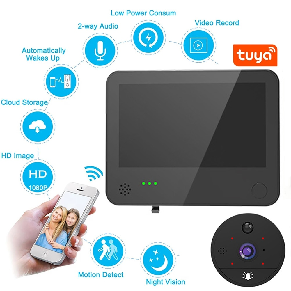 WiFi Smart 1080P Video Doorbell Peephole Camera Door Bell Viewer 180 Degree Motion Detection Tuya APP Remote Control for Home enlarge