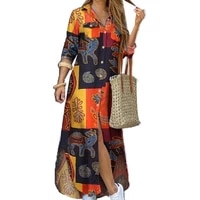 70 hot sell fashion women dress single breasted long sleeve printed loose maxi shirt dress for office