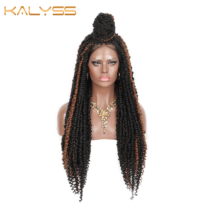 Kalyss 30 Inch 4X4 Swiss Lace Front Wigs  Twist Braided Wigs Brown Curly Synthetic Wigs with Baby Hair for Black Women