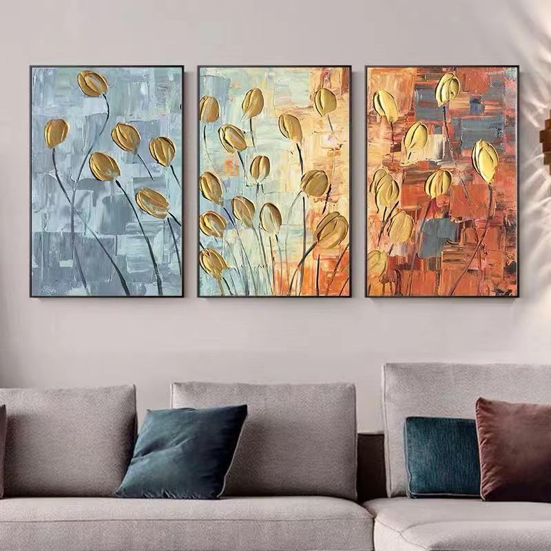 Pintado a mano abstracto Flor de amapola dorada pintura al óleo paleta al óleo abstracta lienzo pintura albaricoque flor floración arte de la pared