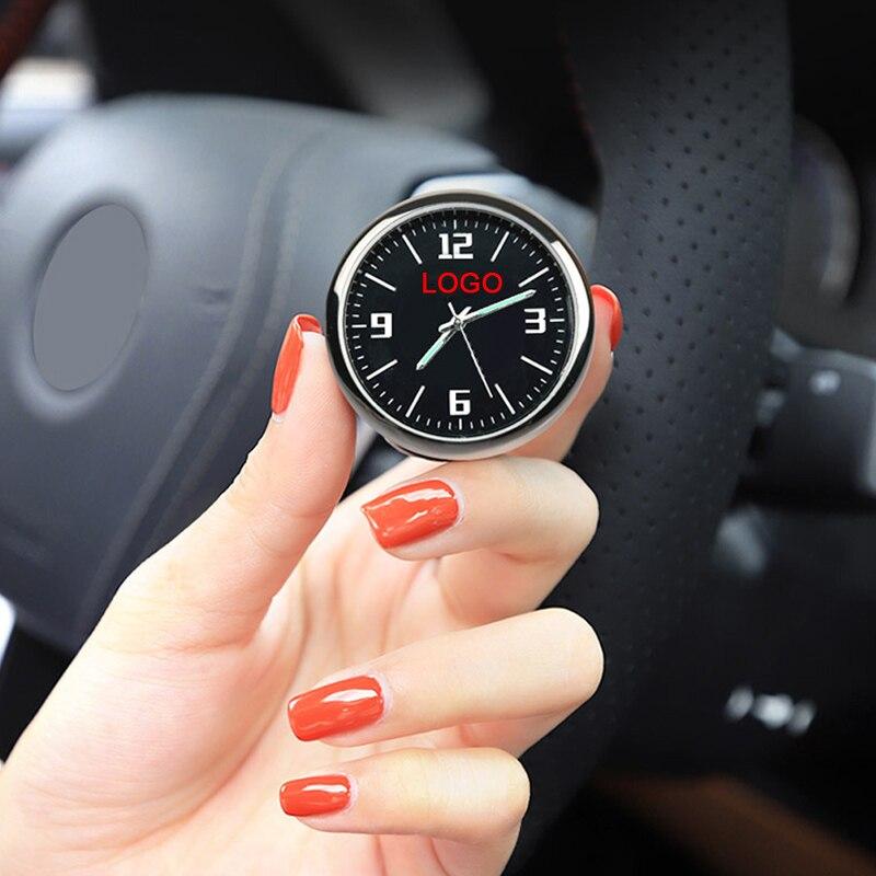 Reloj de coche, reloj de cuarzo electrónico de Interior modificado para coche, decoración de coche, logotipo personalizado para BMW Honda Benz Audi Nissan
