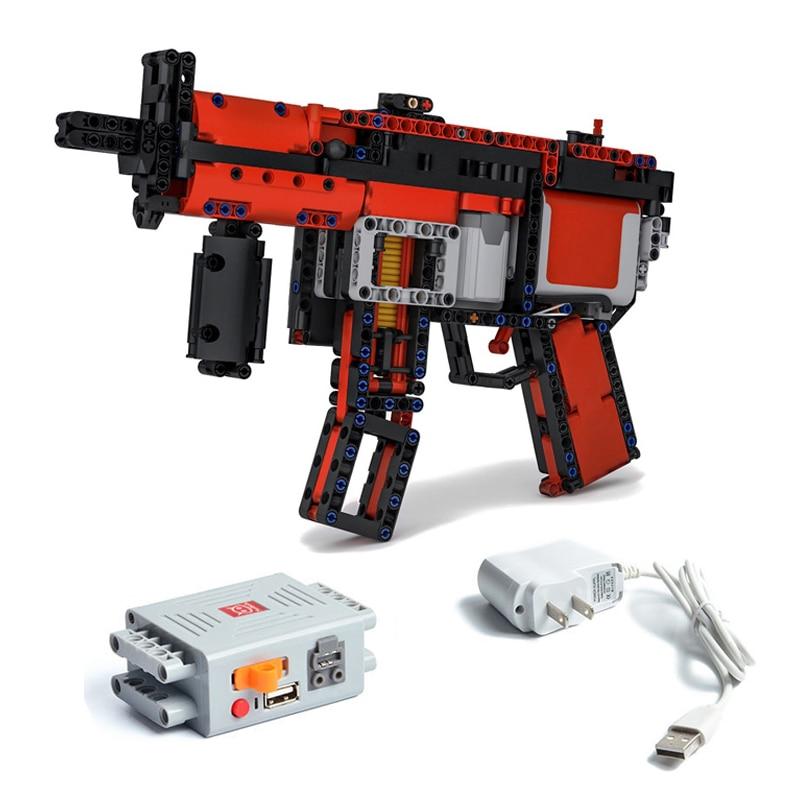 Nova maquinaria Moc-29369 blocos de construção de disparo contínuo bala mp5 motores submachinegun peças diy modelo apto para logotipos técnica