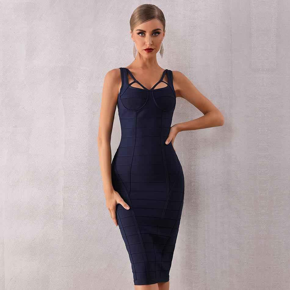 Seamyla для женщин синий Спагетти ремень Открытое платье без бретелек, платье без рукавов, сексуальное летнее облегающее вечернее платье ночной клуб вечерние 2021 платья