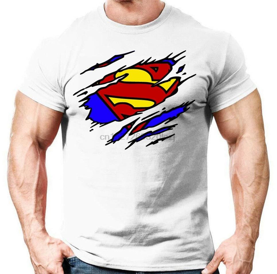 Camiseta ajustada para hombre, camiseta de gimnasio Crossfit para culturismo para seguidores de Superman, camiseta informal