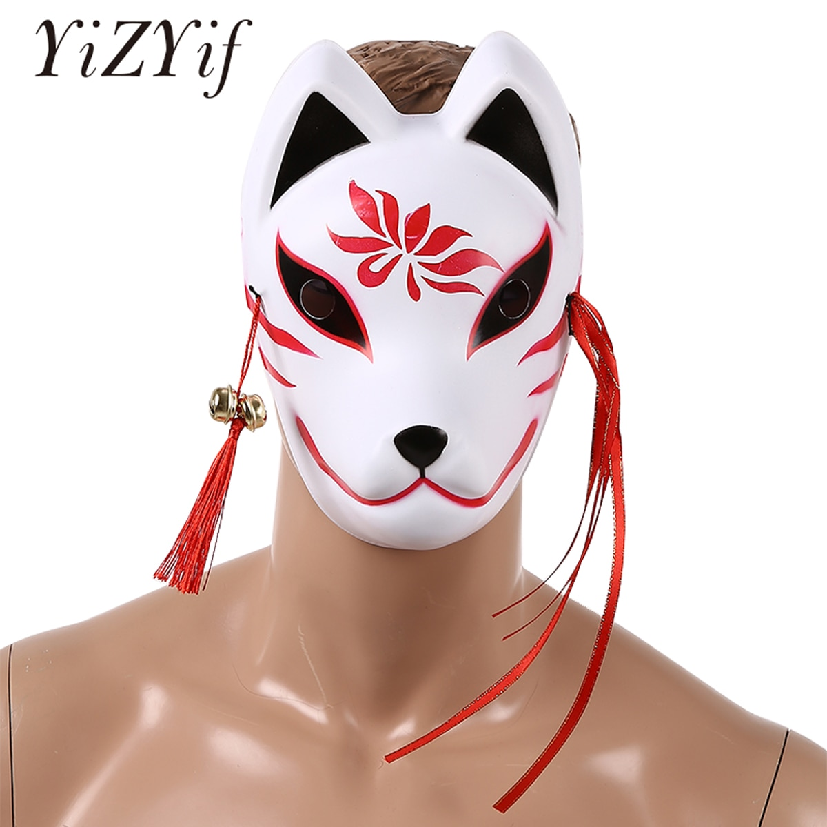 Rosto cheio anime japonês máscara de raposa cosplay máscaras máscaras máscaras com borlas pequenos sinos pvc festival festa de halloween traje