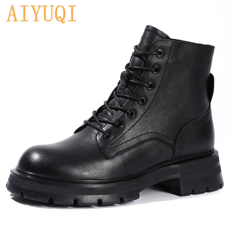 prova perfetto punk style women ankle boots special two kinds of wear rivet studded martin boots lace up genuine leather botas AIYUQI Women's Martin Boots Autumn 2021 New British Style Genuine Leather Women's Ankle Boots Thick-soled Lace-up Shoes Women