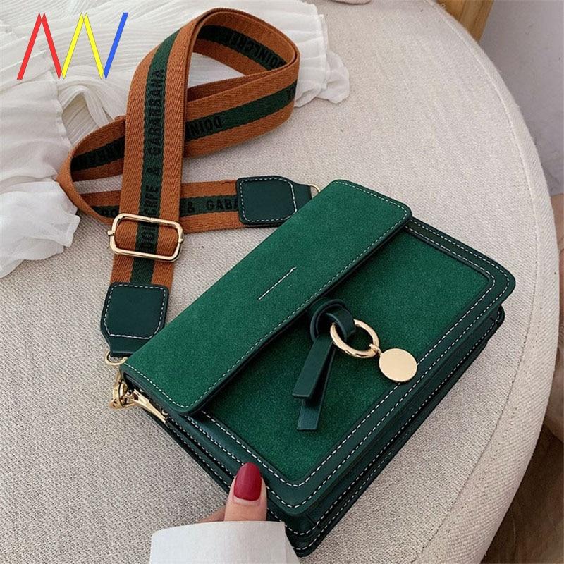 Classic Designer Branded Bag Small Scrub Leather Wide Shoulder Strap Bag Women's Crossbody Bags Female Trend Handbags And Purses