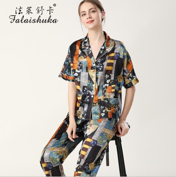 Women 100% Silk Pajamas Sets 2021 New Spring Short Sleeve Long Pants Three Piece Set Lady Homewear Sleepwear
