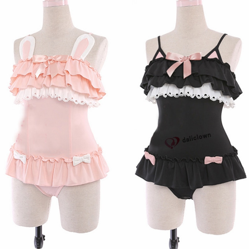 قطعة واحدة ملابس السباحة لطيف مثير أنيمي تأثيري حلي النساء Kawaii الأسود القط و مسحوق أرنب ملابس السباحة لوليتا اليابانية Sukumizu