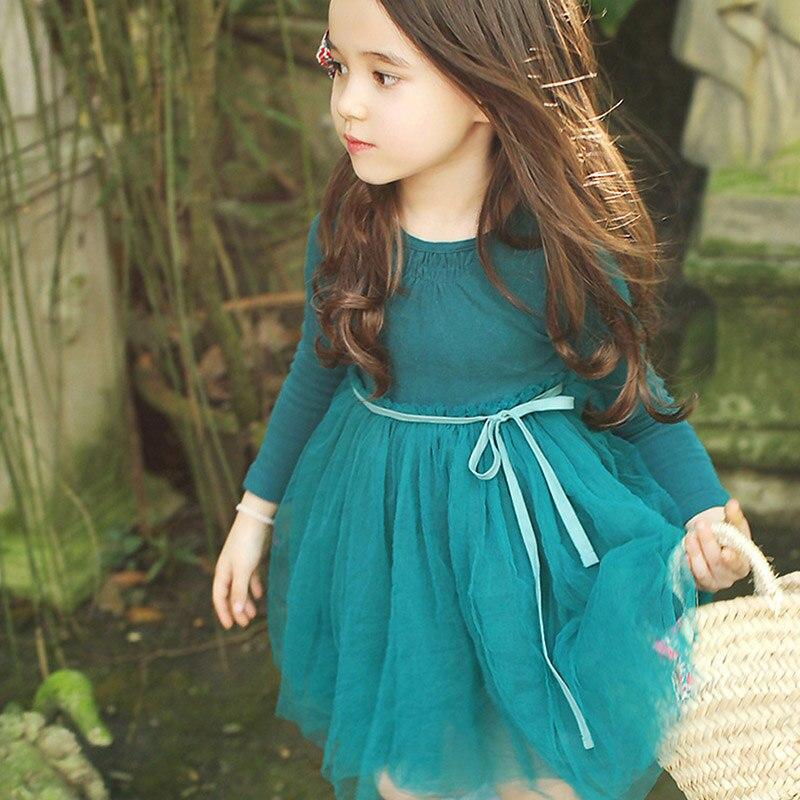 Moda bonito novo vestido da menina do bebê outono casual bebê menina cor sólida manga longa malha princesa vestido infantil roupas