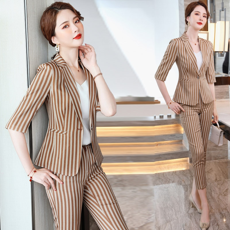Professional Striped Suit Women's Spring/Summer 2021 New Korean Style Fashion Trending Fried Street